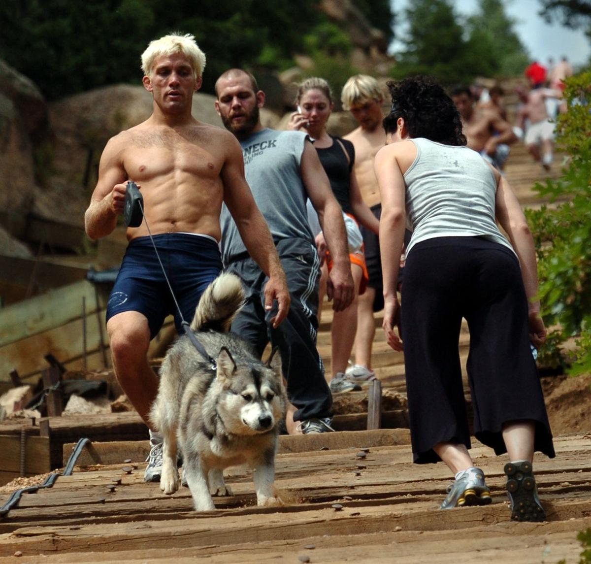 Hikers climb up and down the Incline Trail above Manitou Springs, Colo., Saturday, Sept. 10, 2005 on a busy weekend morning. Photo by Christian Murdock/The Gazette