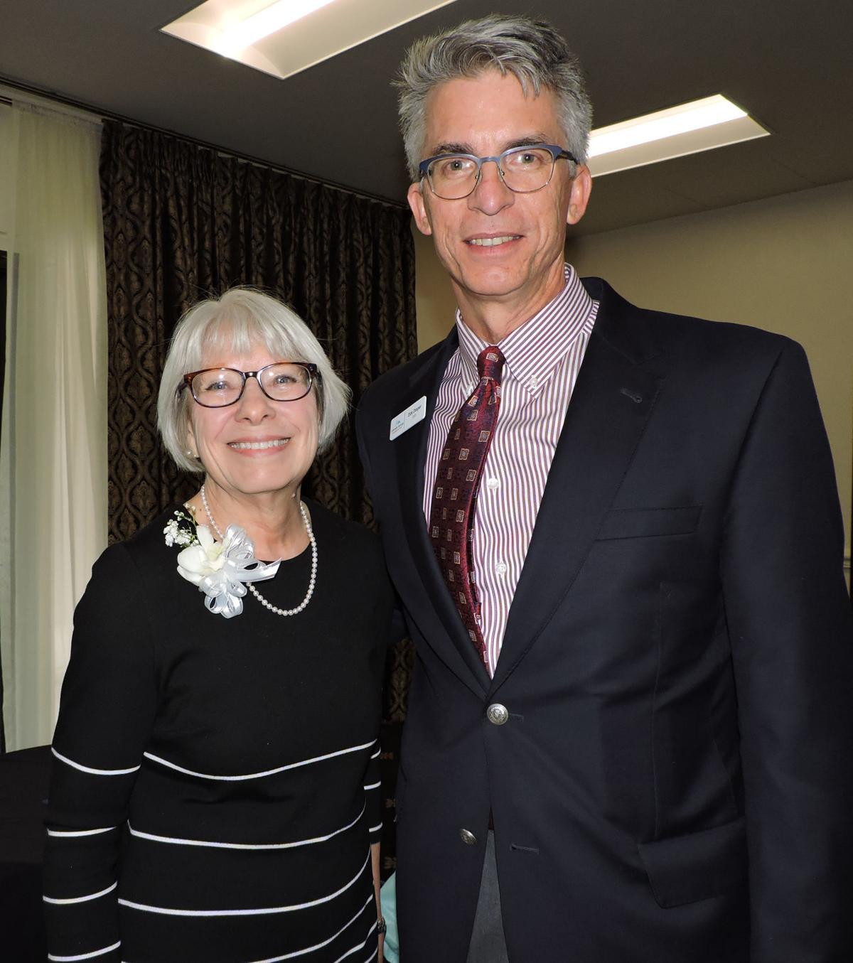 Colorado Springs Chamber and EDC CEO Dirk Draper with 2018 Athena Award recipient Jan Weiland. 040518 Photo by Linda Navarro