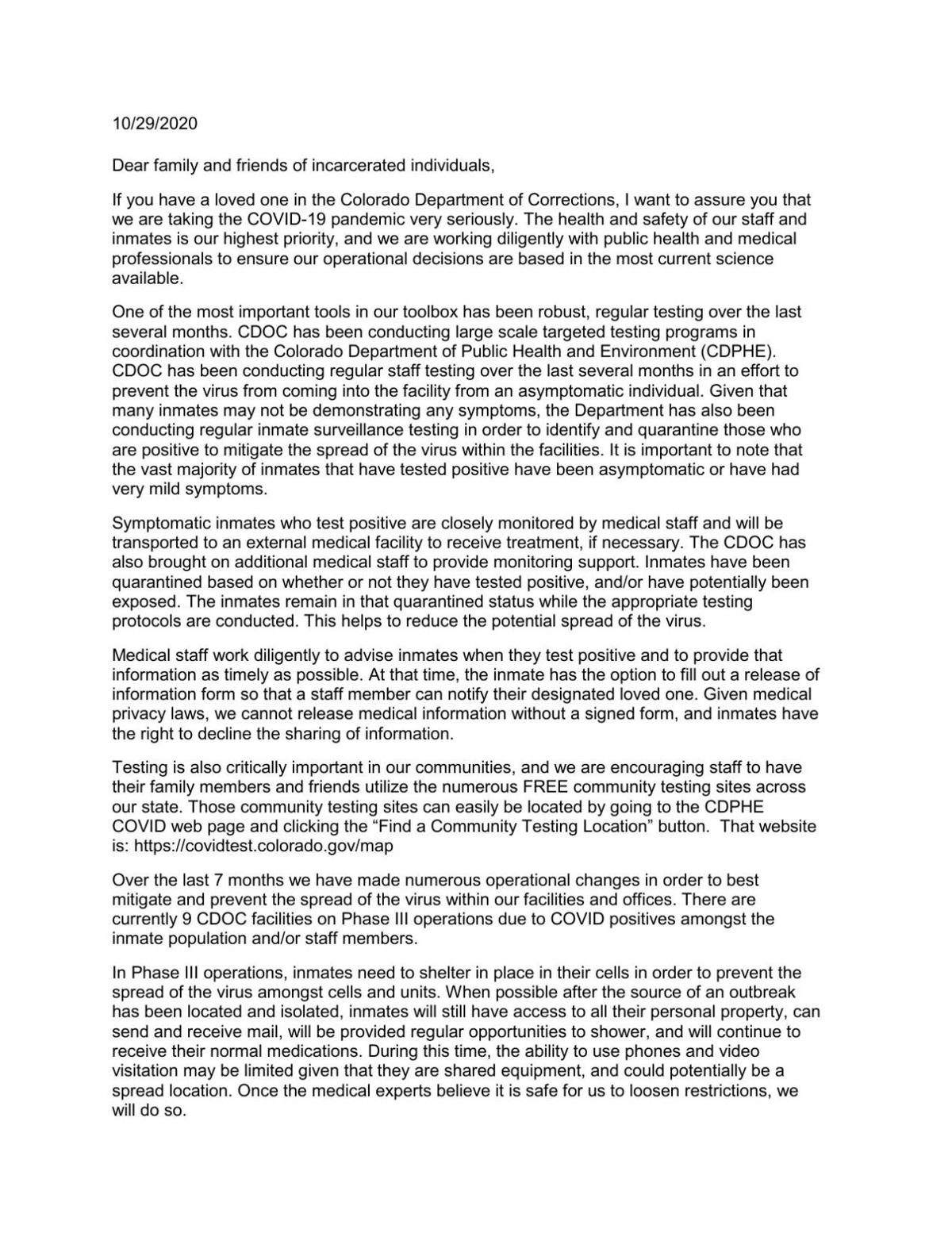10-29-2020 Message to Inmate Family and Friends.pdf