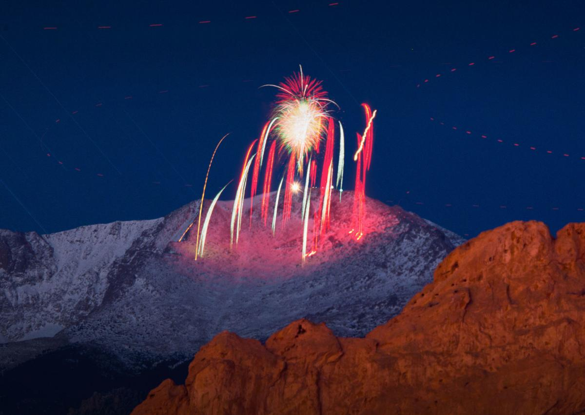 The AdAmAn Club set off fireworks from the summit of Pikes Peak to ring in the New Year Friday morning, January 1, 2016. This was a 13 minute exposure. Fireworks. Mark Reis.jpg