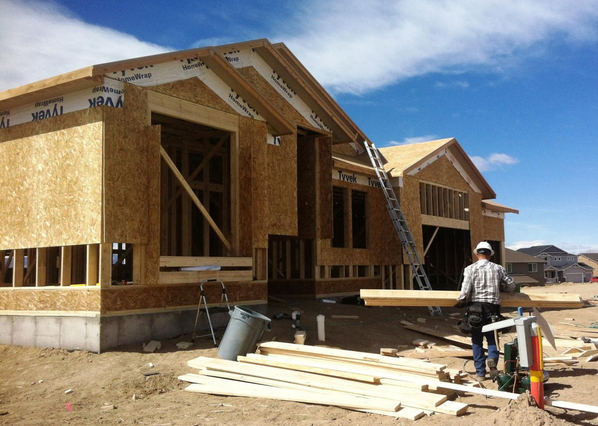 Construction is underway on a home in the Indigo Ranch development on Colorado SpringsÂ' northeast side. The pace of homebuilding in February jumped by a little more than one-third from the same time last year, according to a new Pikes Peak Regional Building Department report. RICH LADEN, THE GAZETTE