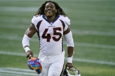 Broncos Patriots Football Johnson