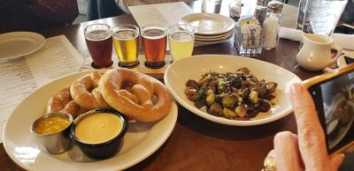 Phantom Canyon beer appetizers, soft pretzels and Brussels sprouts