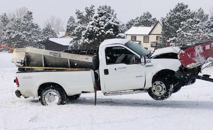 Academy District 20 plow driver injured in morning crash