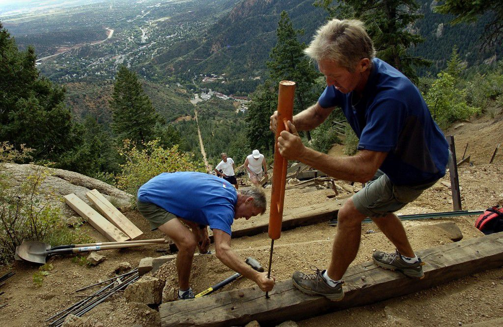 Fred and Ed Baxter Installing Steps on the Manitou Incline - OutThere Colorado