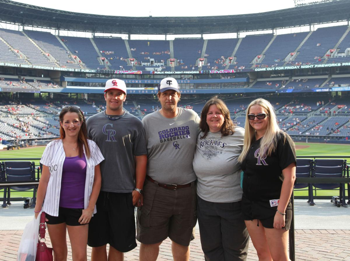 The Gniadek family – (from left) Deanna, Tyler, Pete, Diana and Nicole – poses at Turner Field in Atlanta on a recent vacation. Photo courtesy of Diane Gniadek.