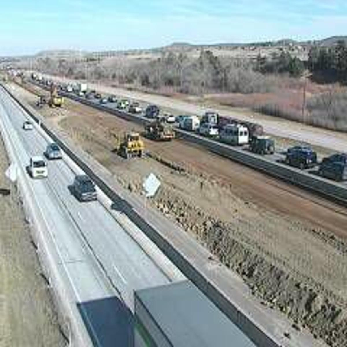 Thursday's traffic: Traffic backed up on northbound I-25 in
