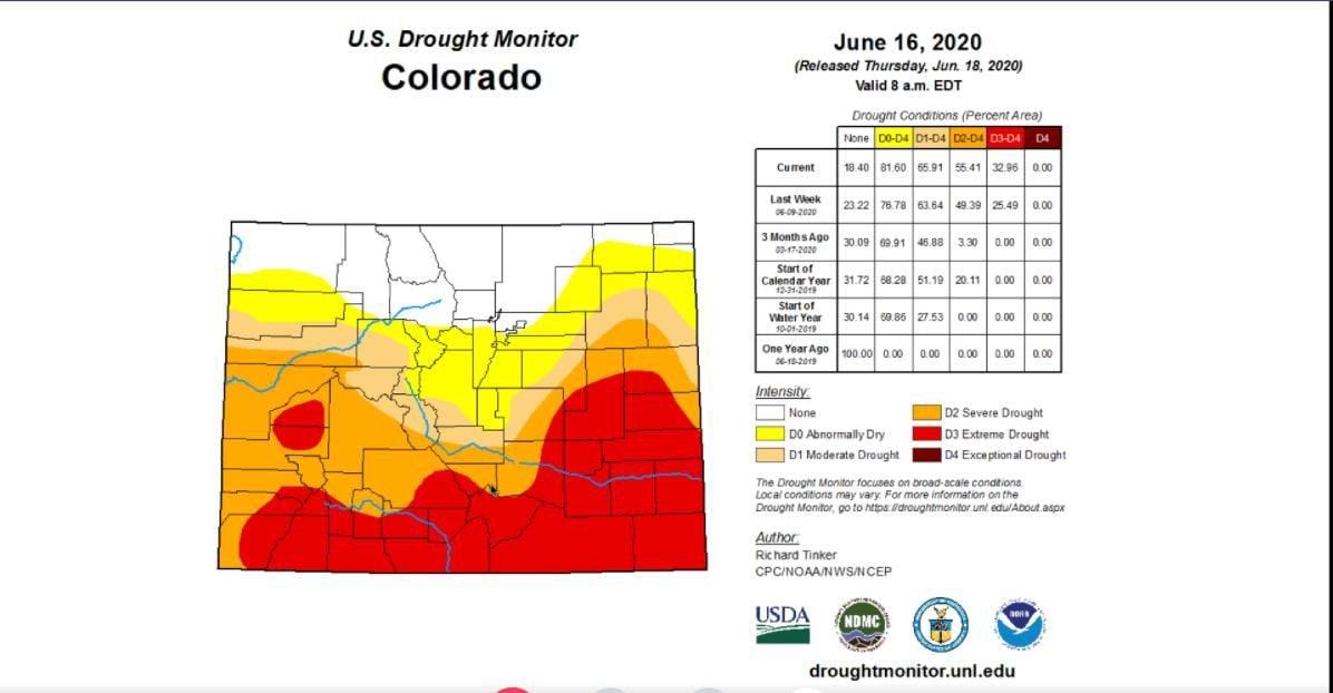 Colorado drought map 061620