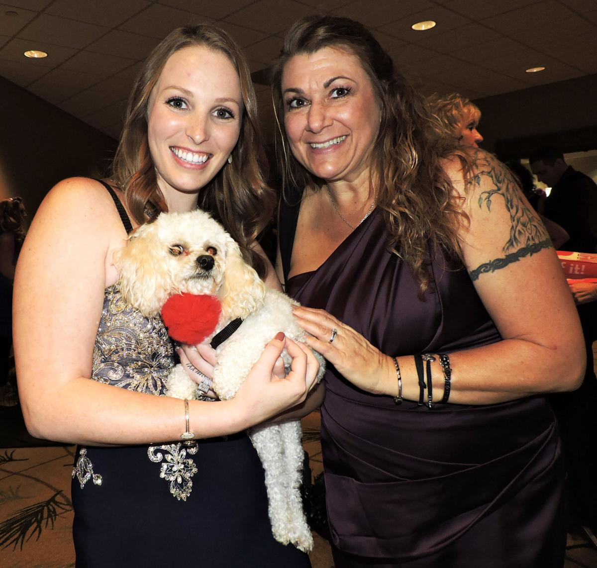 National Mill Dog Rescue benefit gala: Jacklyn Gray, left, and Susan Rieger with Peaches. 101417 Photo by Linda Navarro