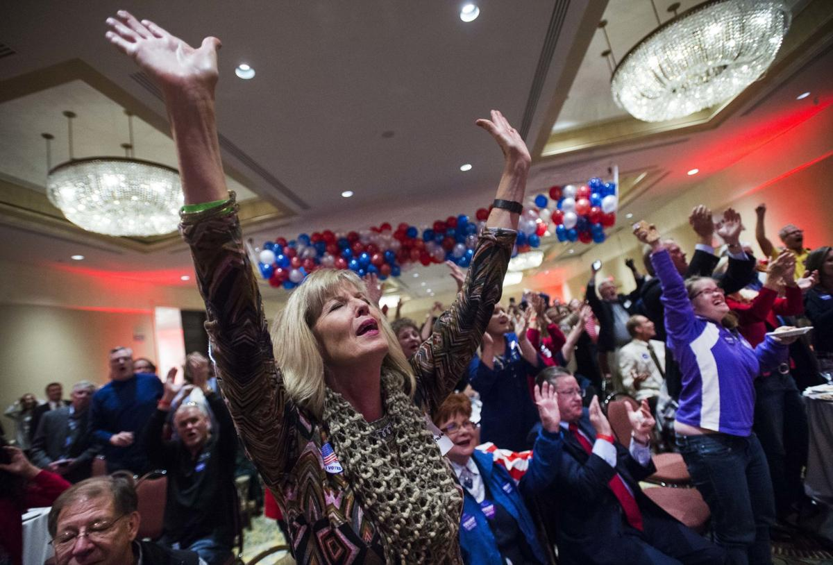 Bev Hargrave cheers as FoxTelevision announces Trump taking Florida Tuesday, Nov. 8, 2016, at the Republican gathering at the Antlers hotel in Colorado Springs, Colo. (The Gazette, Christian Murdock)
