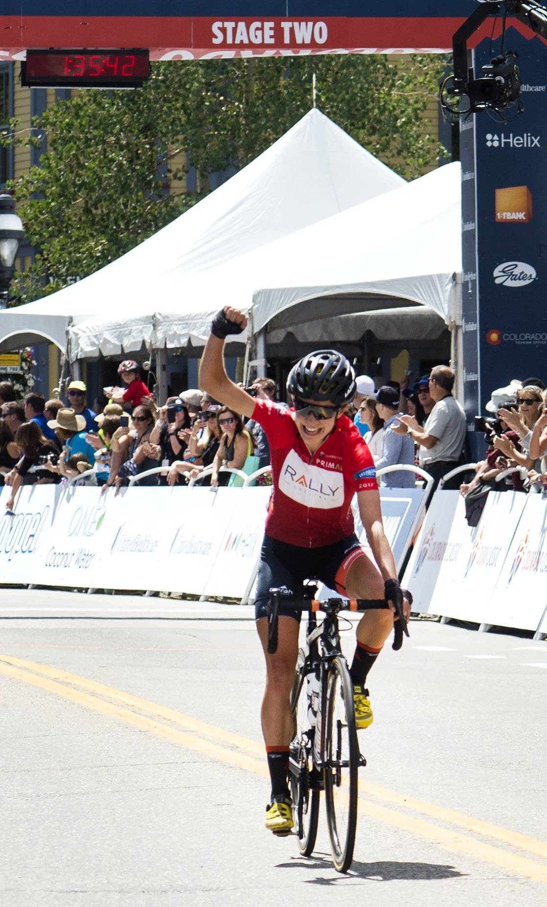 Sara Poidevin celebrates after crossing the finishline for the win Friday, Aug. 11, 2017, during Stage 2 of the women's race of the  Colorado Classic in Breckenridge, Colo.  (The Gazette, Christian Murdock)