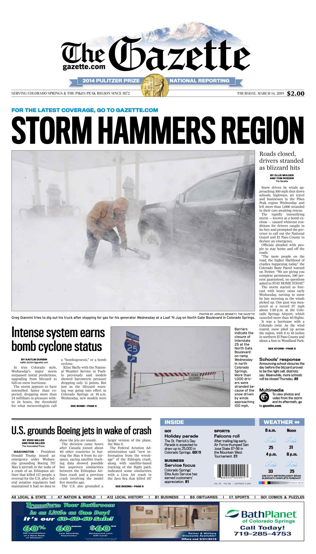 Bomb cyclone front page