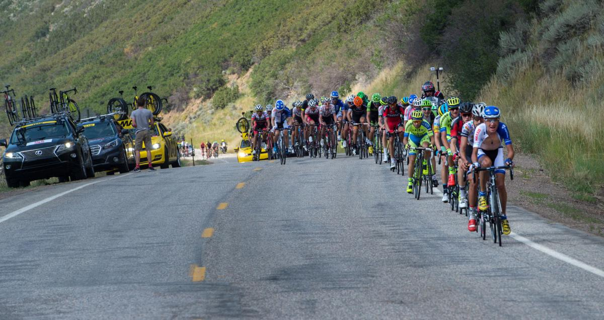 The peloton climbs a hill along Highway 33 as the race moves toward Oak Creek on the second lap Monday, Aug. 17, 2015, during Stage 1 of the 2015 USA Pro Challenge in Steamboat Springs, Colo. Stage 1 is a two-lap, 97 miles circuit beginning and ending in Steamboat Springs. (The Gazette, Christian Murdock)
