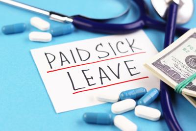 text paid sick leave and money with pills on a blue background