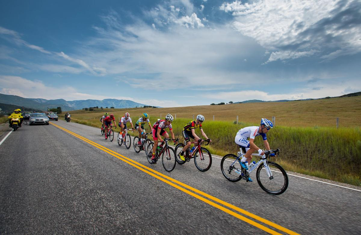 United Healthcare's Jonathan Clarke leads a group of riders along Highway 33 toward Oak Creek Monday, Aug. 17, 2015, during Stage 1 of the 2015 USA Pro Challenge in Steamboat Springs, Colo. Stage 1 is a two-lap, 97 miles circuit beginning and ending in Steamboat Springs. (The Gazette, Christian Murdock)