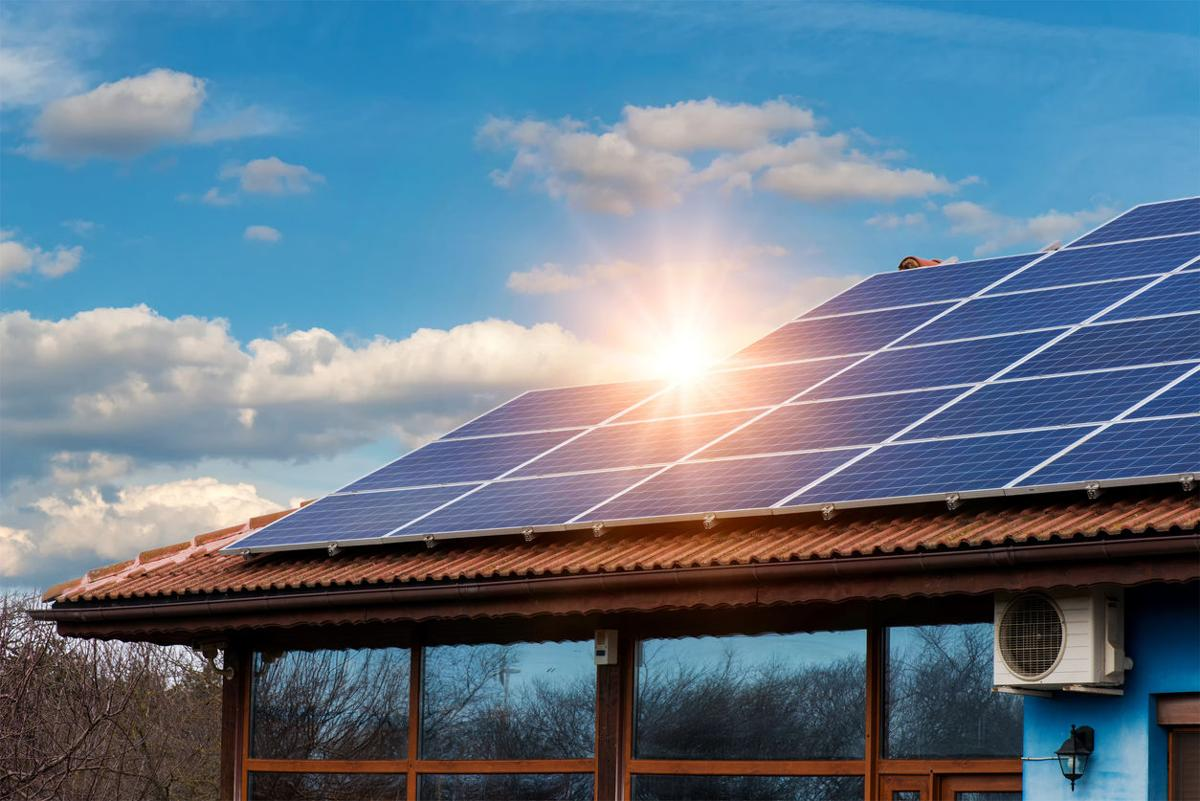 Solar panel on a red roof (copy)
