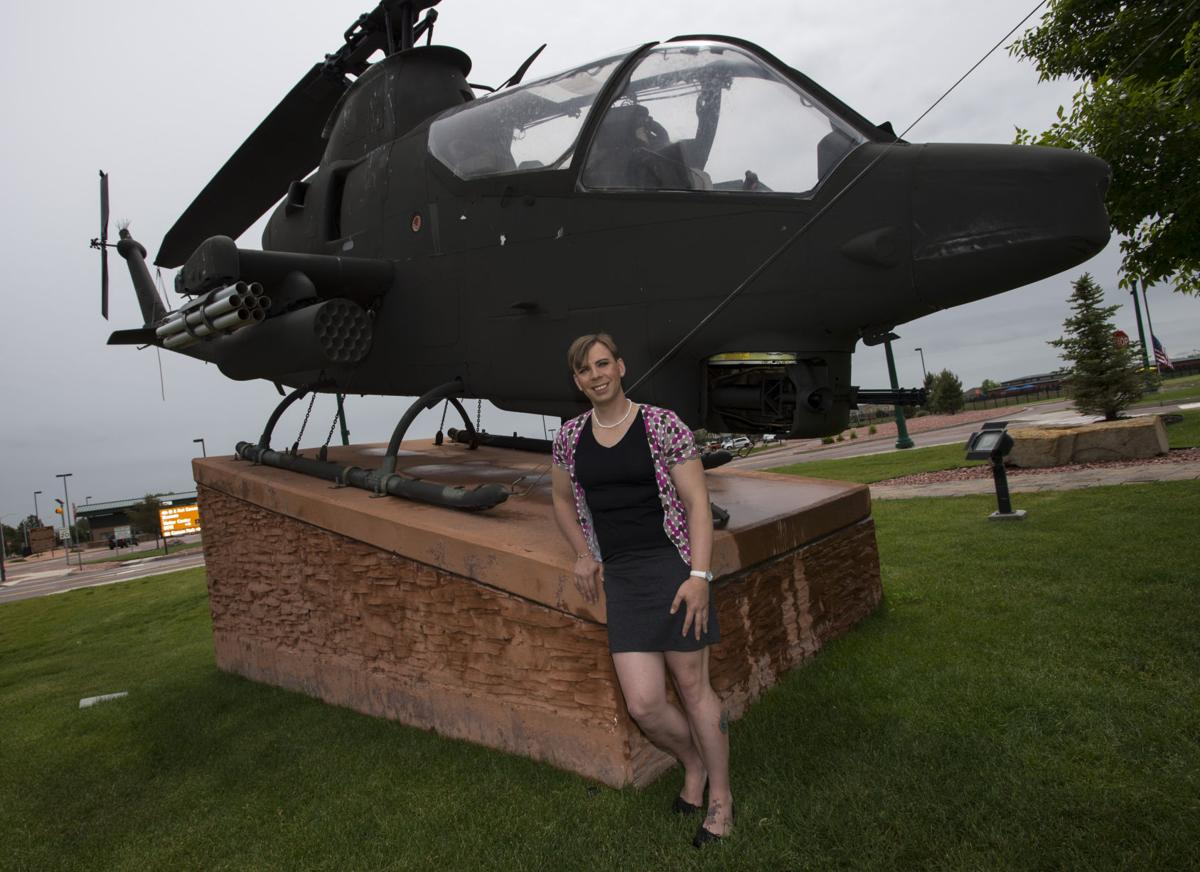 Staff Sgt. Patricia King became the U.S. Army's first transgender infantryman this year when she came out to her commanders. King, pictured outside Fort Carson in Colorado Springs, has been serving in the Army for 16 years. (The Gazette, Christian Murdock)