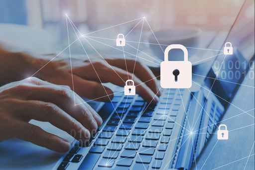 internet security and data protection concept, blockchain and cy