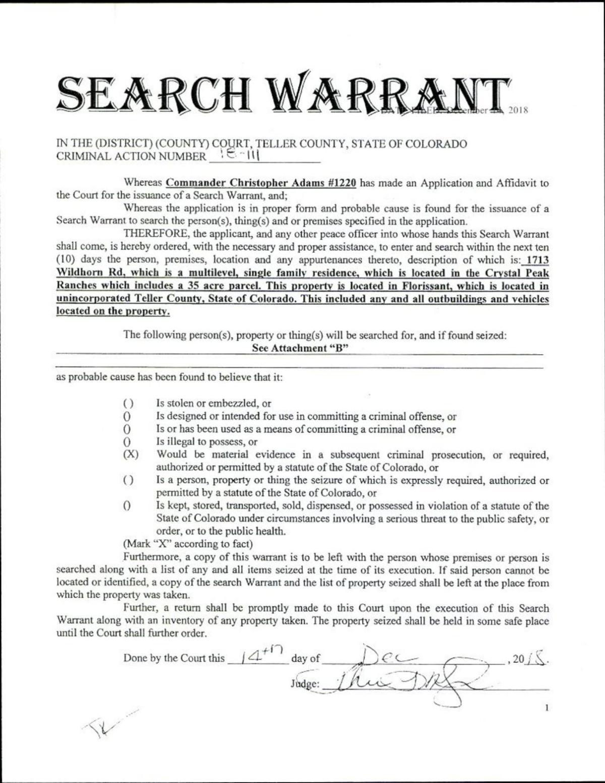 Kelsey Berreth search warrant PDF