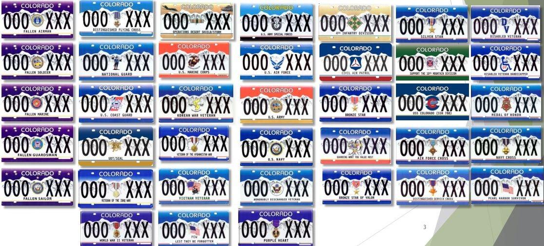 Colorado military license plates