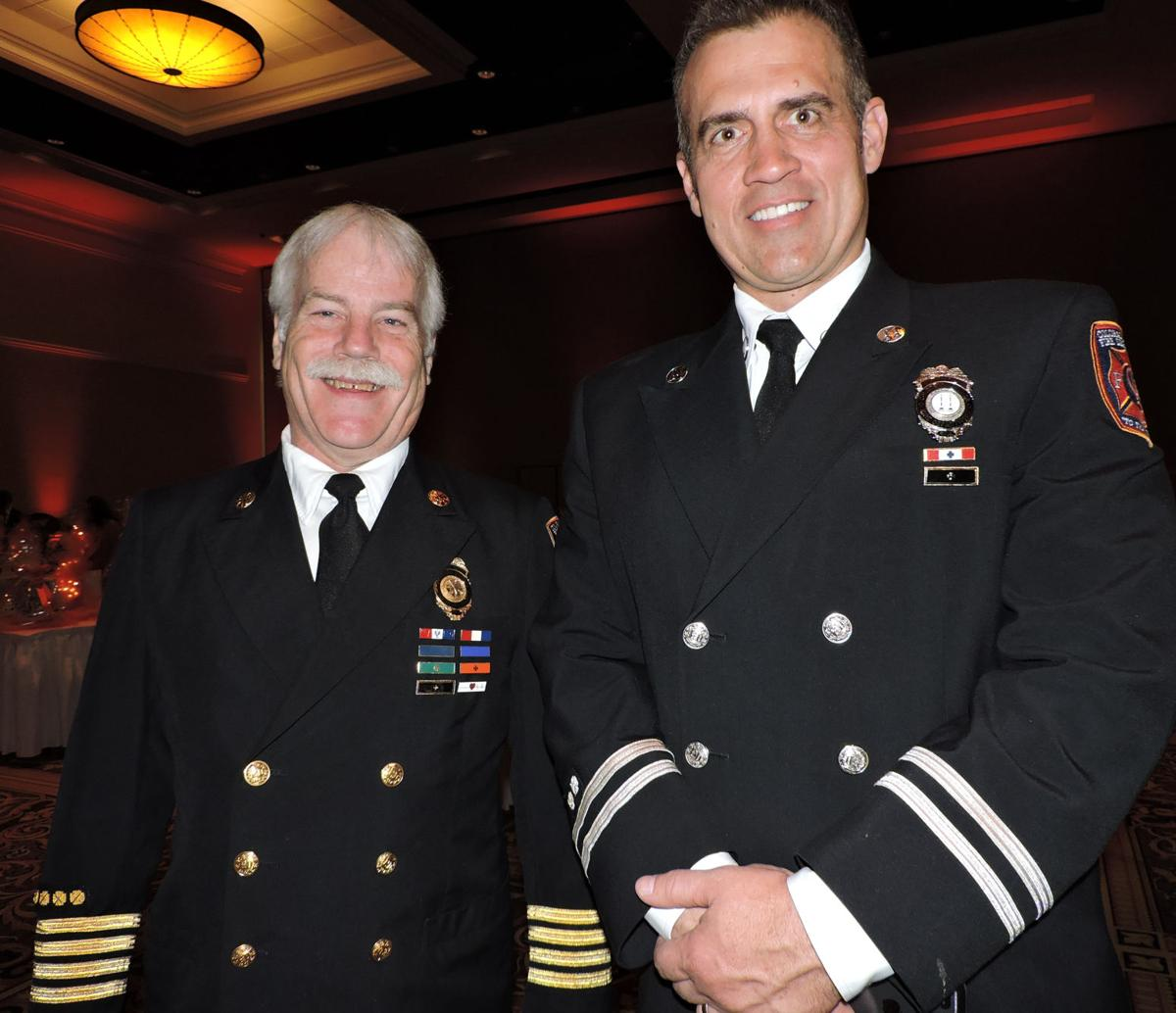 UCHealth Memorial Hospital Gala: Deputy Fire Chief Randy Royal, left, and Capt. Brian Vaughan 042818 Photo by Linda Navarro
