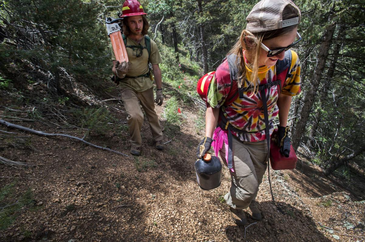 Rocky Mountain Field Institute field coordinator Holly Newell, right, and Evan Cox walk out for a lunch break Thursday, July 22, 2016, while cutting trees for the new Mount Buckhorn connector trail between Trail 667 (Upper Captain Jack's) and to the Bear Creek Trail. (The Gazette, Christian Murdock)