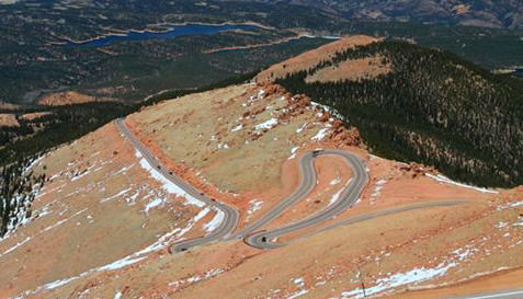 high on a mountain pikes peak highway lures record number of users