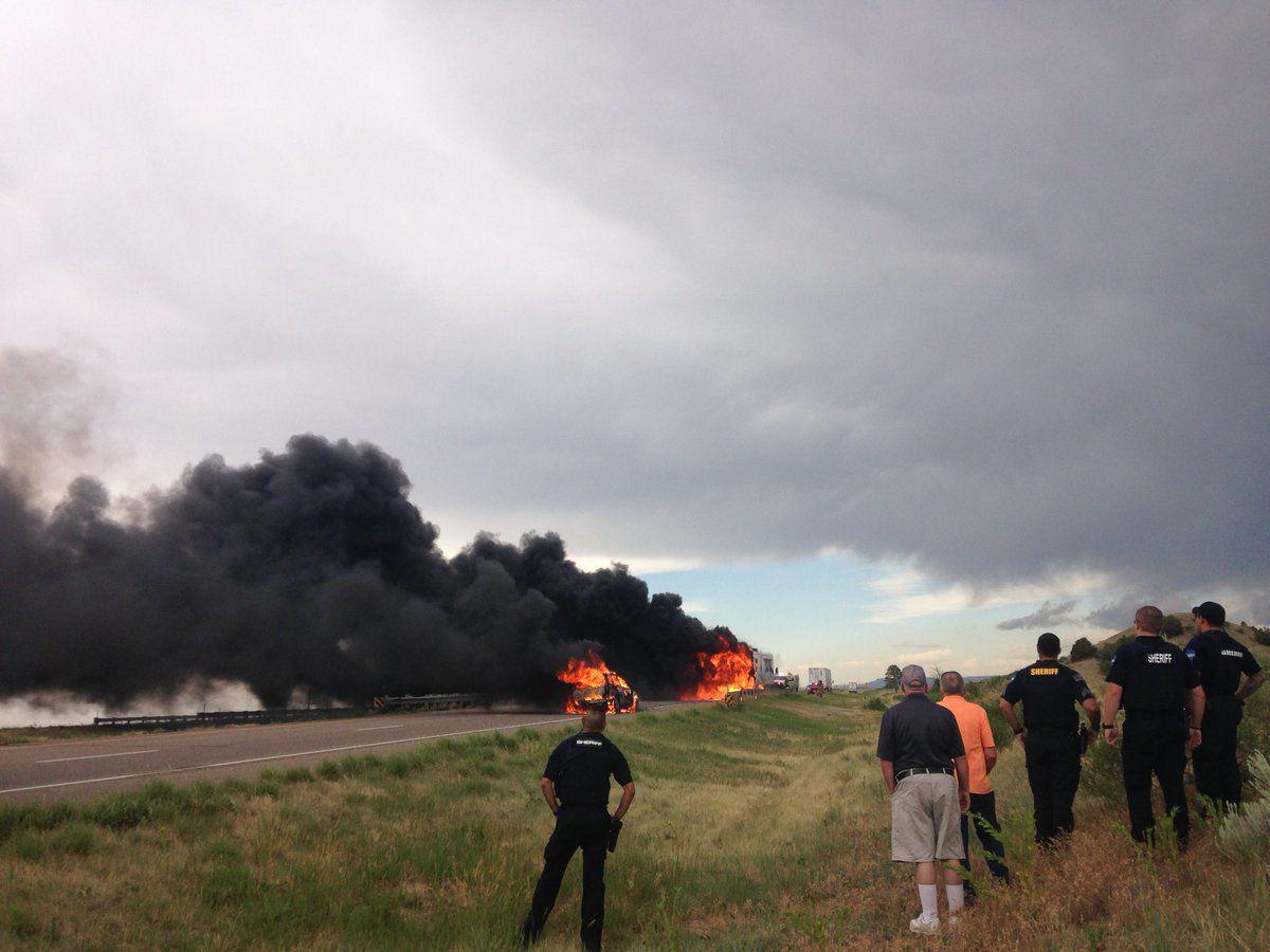 Wednesday's traffic: Southbound I-25 closes north of Trinidad after RV catches fire