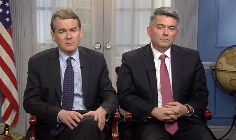 U.S. Sens. Michael Bennet, a Democrat, and Cory Gardner, a Republican, discuss a bipartisan immigration reform bill the Colorado lawmakers are proposing along with four other senators intended to help avert a government shutdown. (Photo courtesy U.S. Senate)