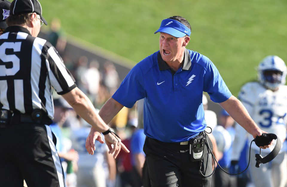 Air Force head coach Troy Calhoun gets heated with an official after a catch by CSU near the sideline in the third quarter of a game at Hughes Stadium on Saturday, October 17, 2015. Air Force lost to CSU 38-23. (Jerilee Bennett/The Gazette)