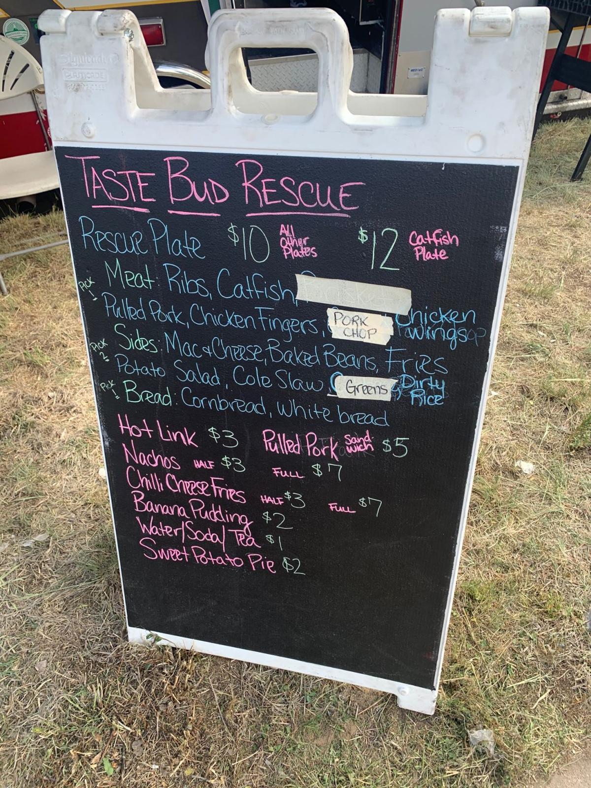 Taste Bud Rescue menu