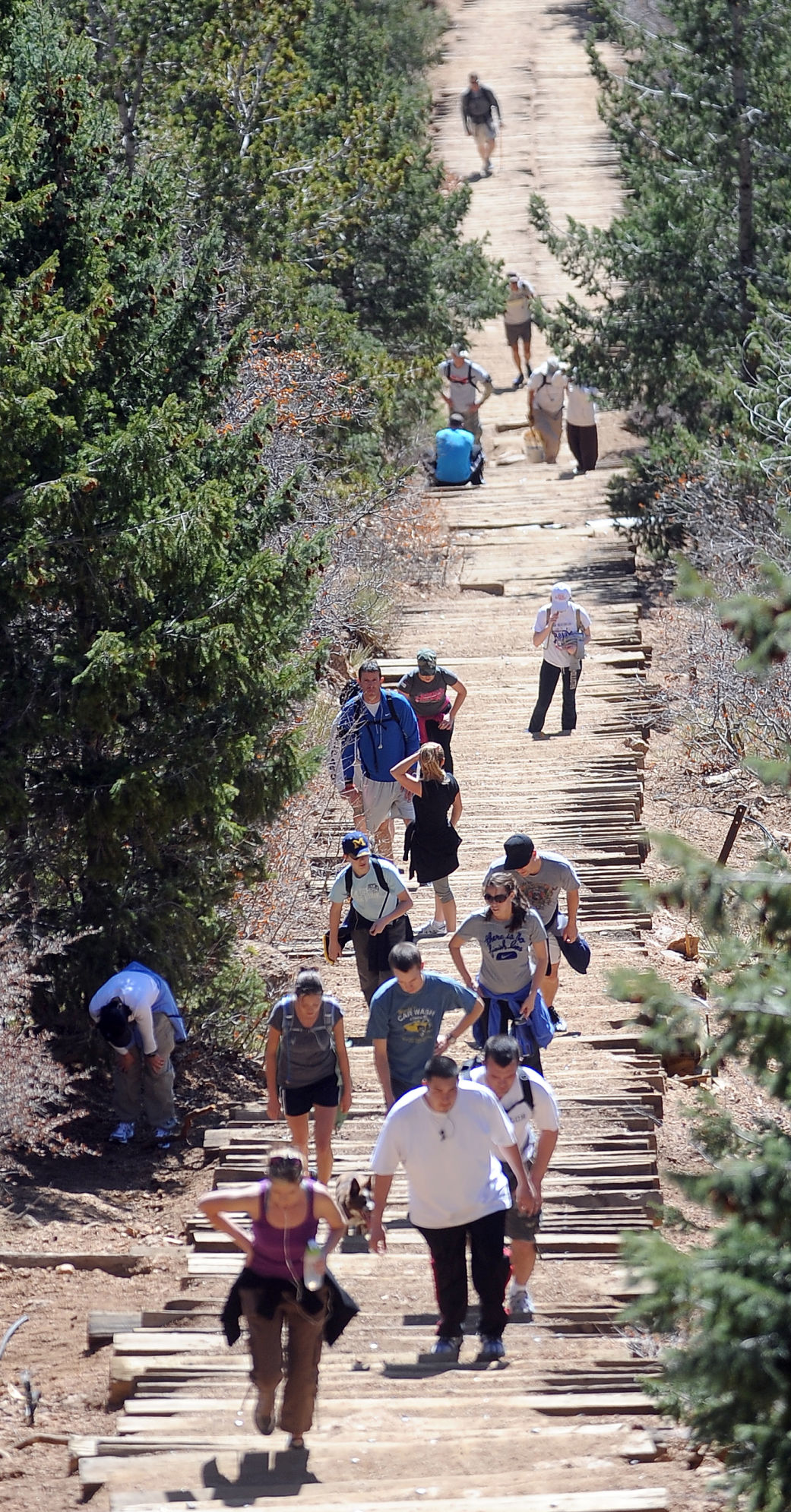 Hikers make their way up the Manitou Springs Incline Friday, April 8, 2011. ( The Gazette, Christian Murdock)