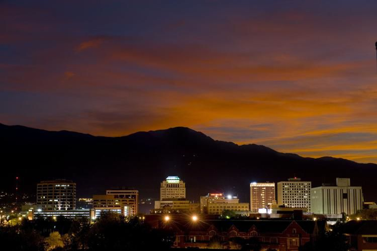 A double exposure of the city of Colorado Springs and Pikes Peak May 17, 2009. Mark Reis, The Gazette