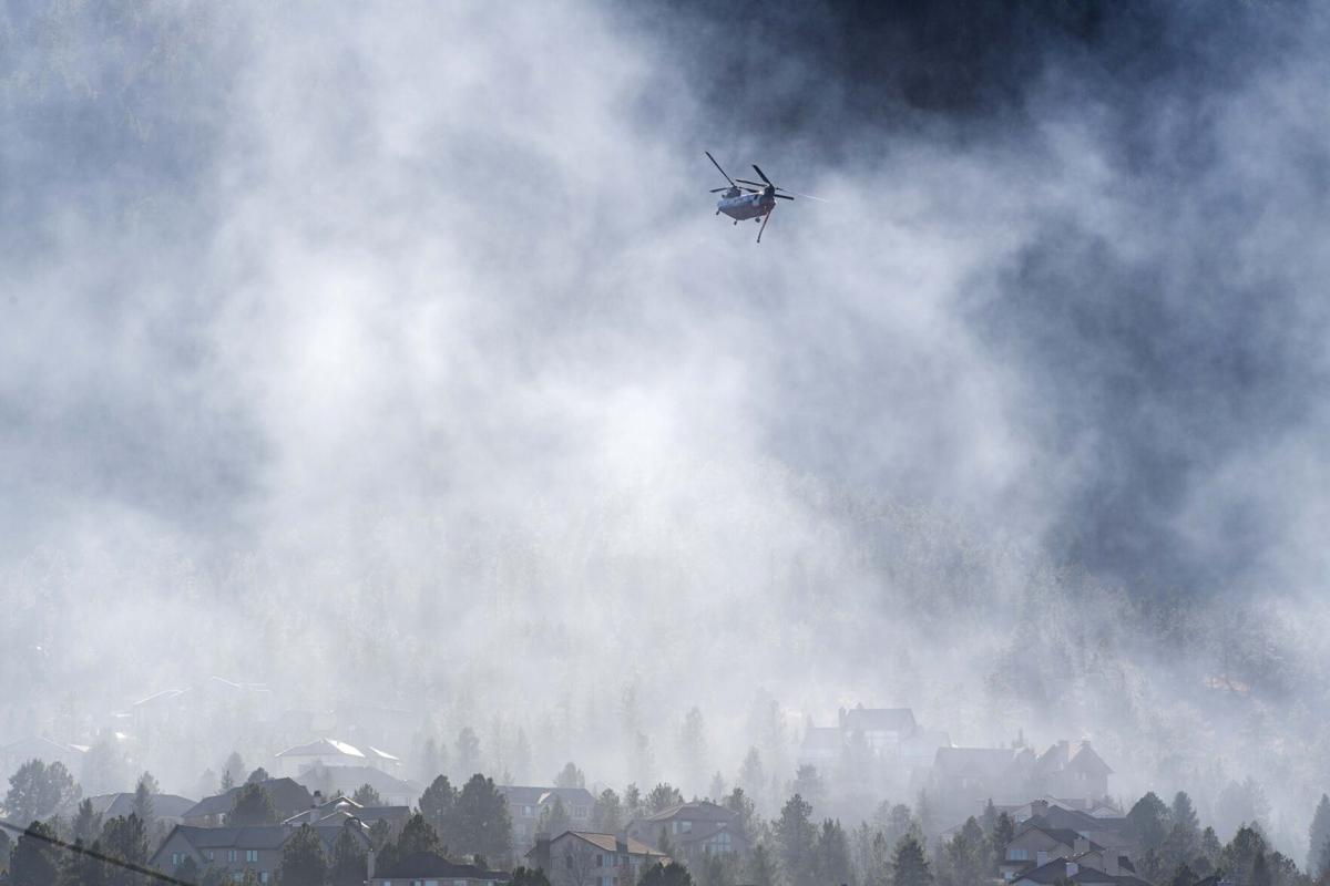 Fire burning near Bear Creek Regional Park in Colorado Springs