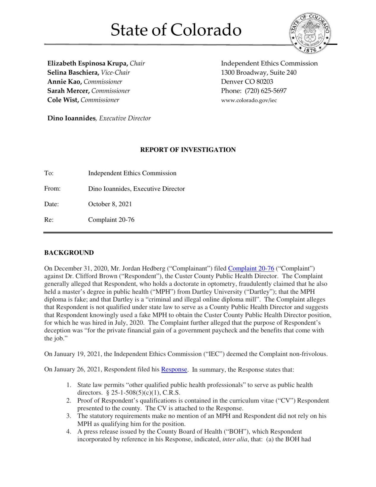 Ethics report on Clifford Brown of Custer County