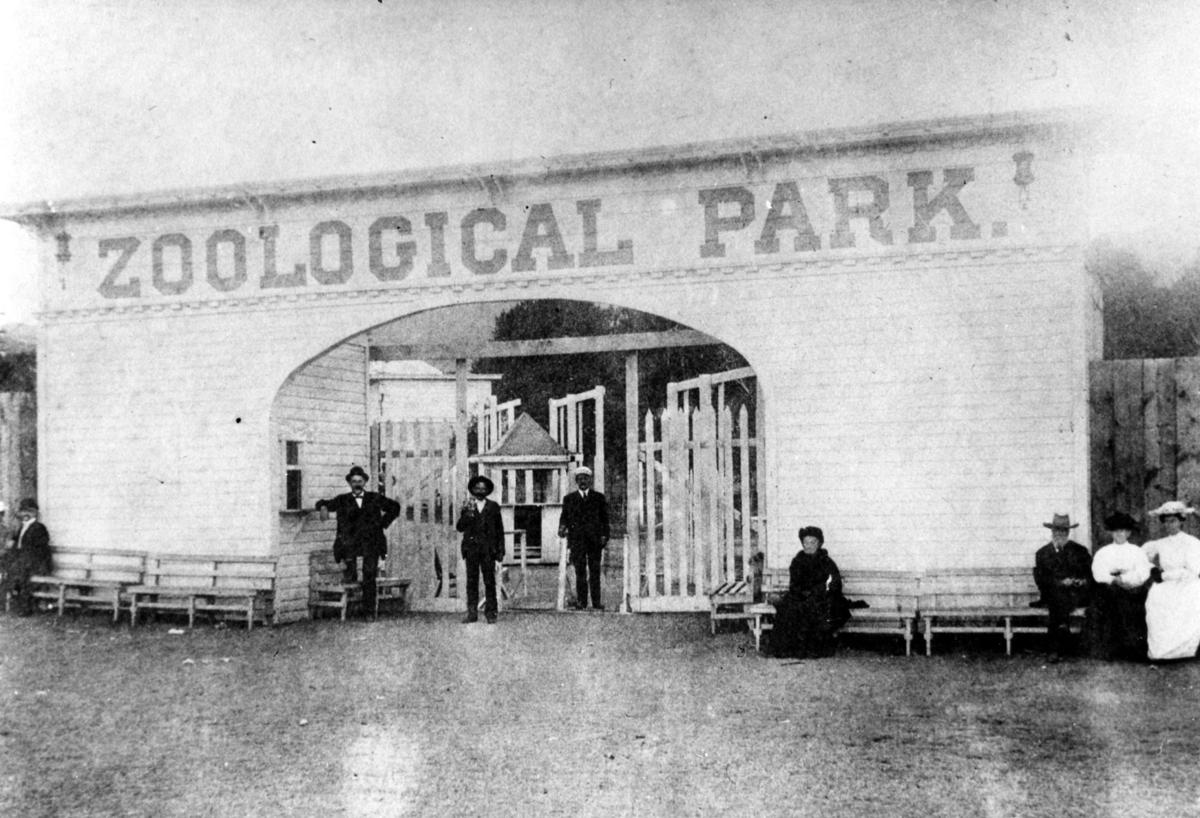 The entrance to John Coughlin's Zoo Park. From the collection of the Colorado Springs Pioneers Museum.