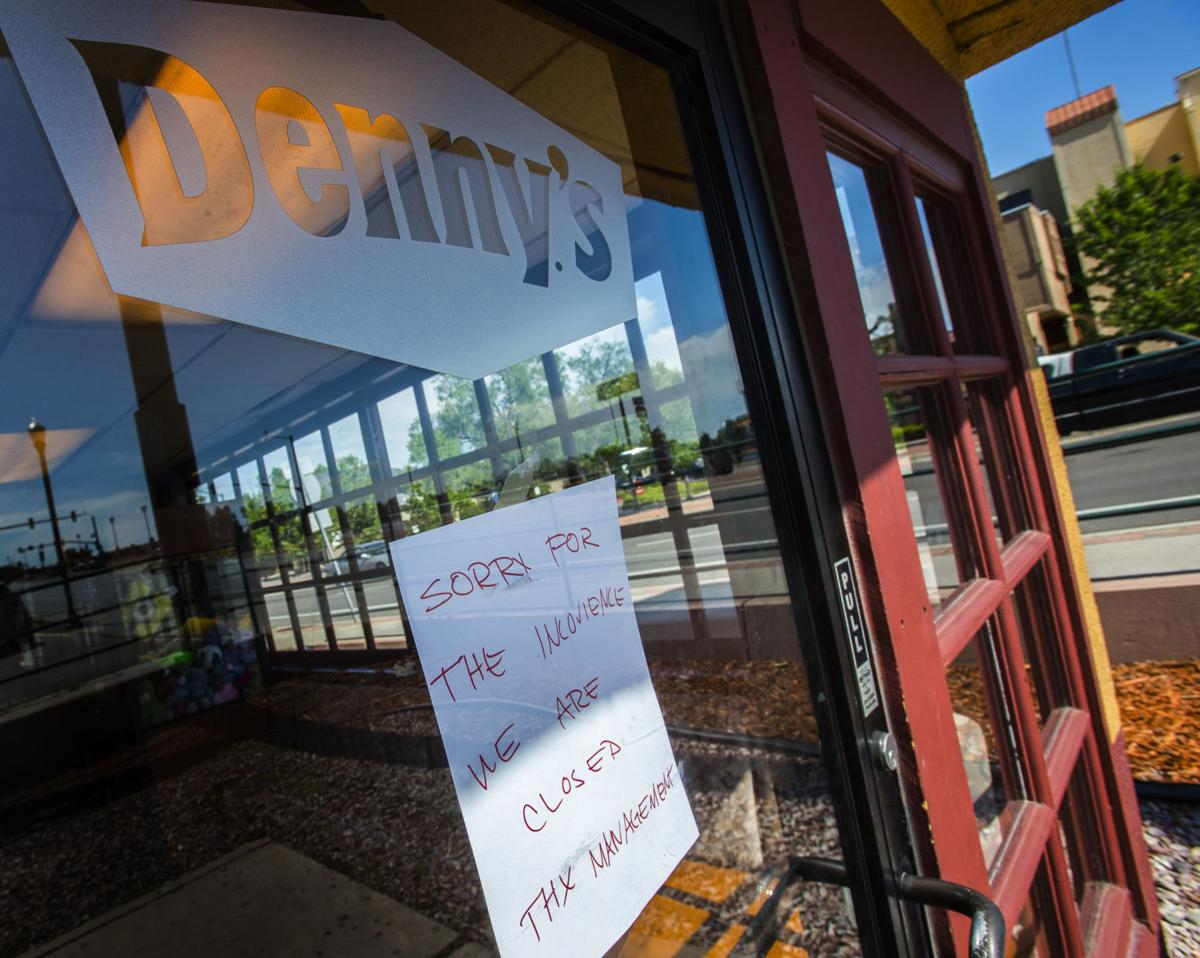 A handwritten sign warns customers of the restaurant's closure Tuesday, June 6, 2017, outside the Denny's on Bijou Street and Interstate 25. (The Gazette, Christian Murdock)