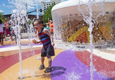 Kids Play in Uncle Wilbur Fountain During Southern Colorado KIDS Fun Fest