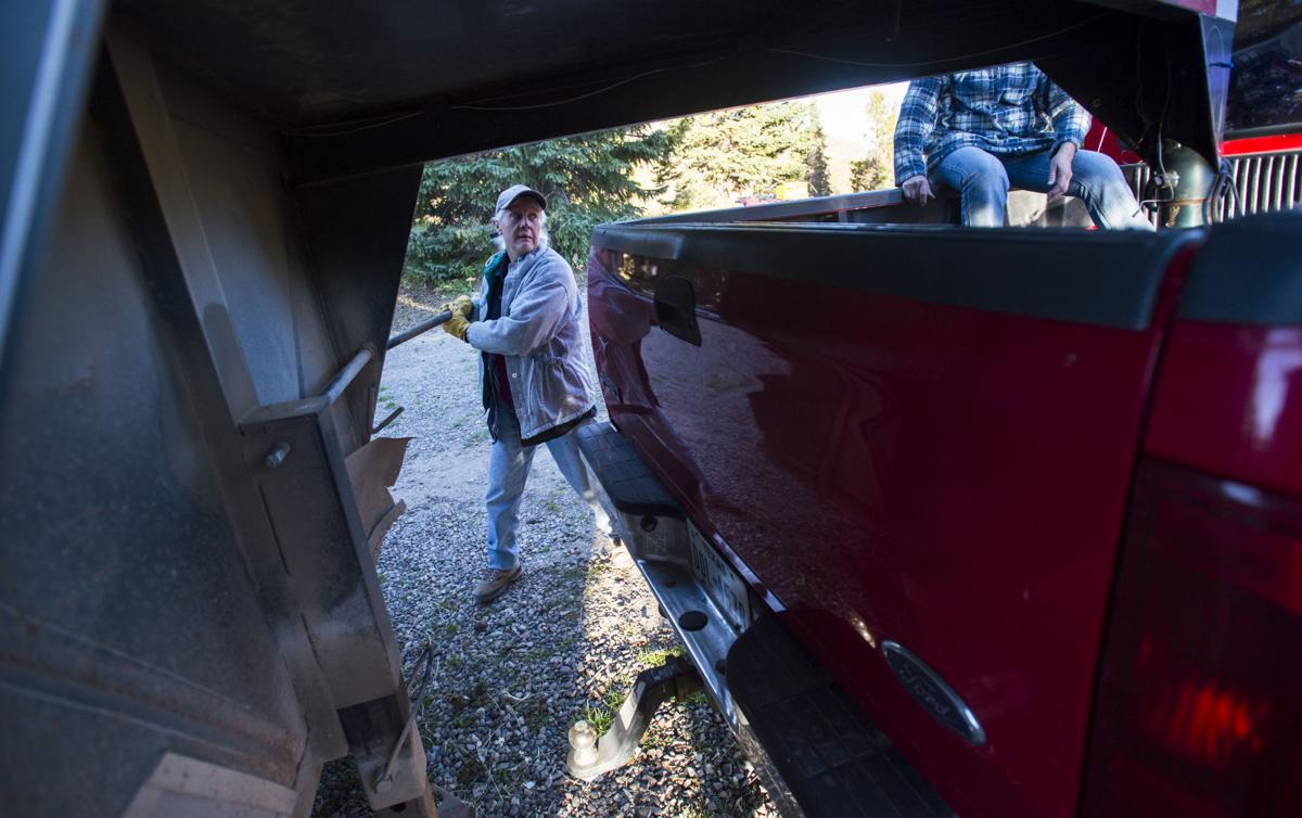 Co-owner Carol Steele, and her sister, Holly King, attach the horse trailer at Trappers Lake Lodge in northwest Colorado Thursday morning, Sept. 8, 2016, before guiding a group into the Flat Tops Wilderness Area. (The Gazette, Christian Murdock)