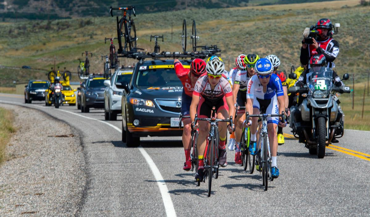 The breakaway races toward Oak Creek on the second lap Monday, Aug. 17, 2015, during Stage 1 of the 2015 USA Pro Challenge in Steamboat Springs, Colo. Stage 1 is a two-lap, 97 miles circuit beginning and ending in Steamboat Springs. (The Gazette, Christian Murdock)