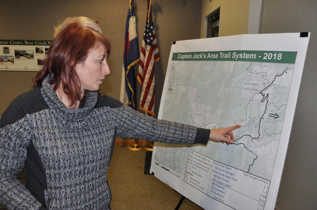Friends of the Peak board member Susan Jarvis Captain Jack's Area Trail System