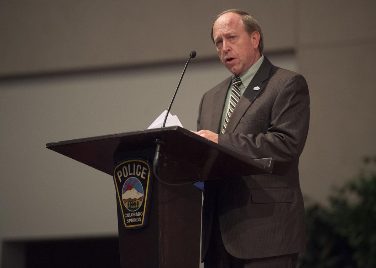 Colorado Springs Mayor John Suthers speaks Friday, April 14, 2017, during the graduation ceremony at the Village Seven Presbyterian Church for the 66th police class at the Colorado Springs Police Department Training Academy.  (The Gazette, Christian Murdock)