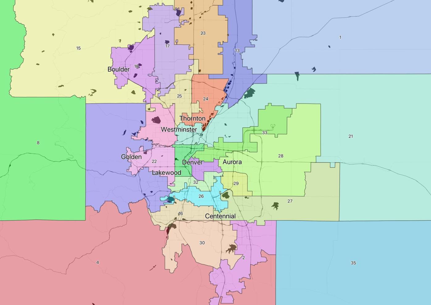 Final adopted state Senate district map - Denver