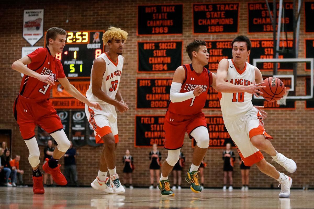 Lewis-Palmer senior guard Noah Baca Tre McCullough basketball