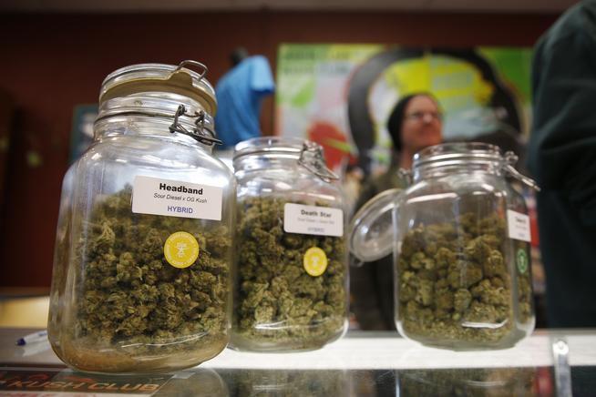 Marijuana in jars at Denver Kush Club