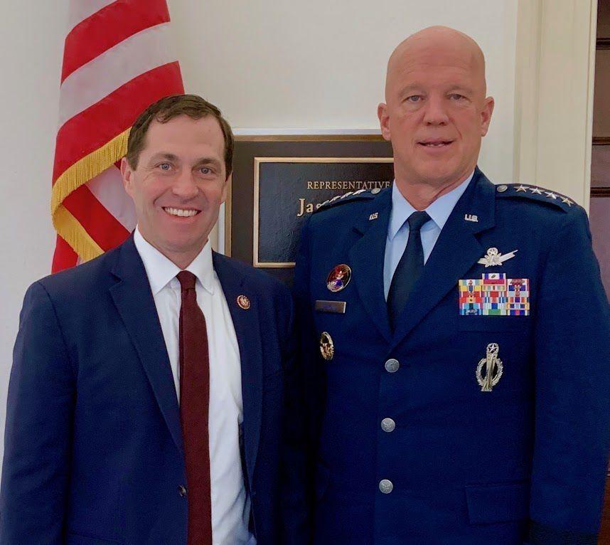 U.S. Rep. Jason Crow and Gen. John Raymond