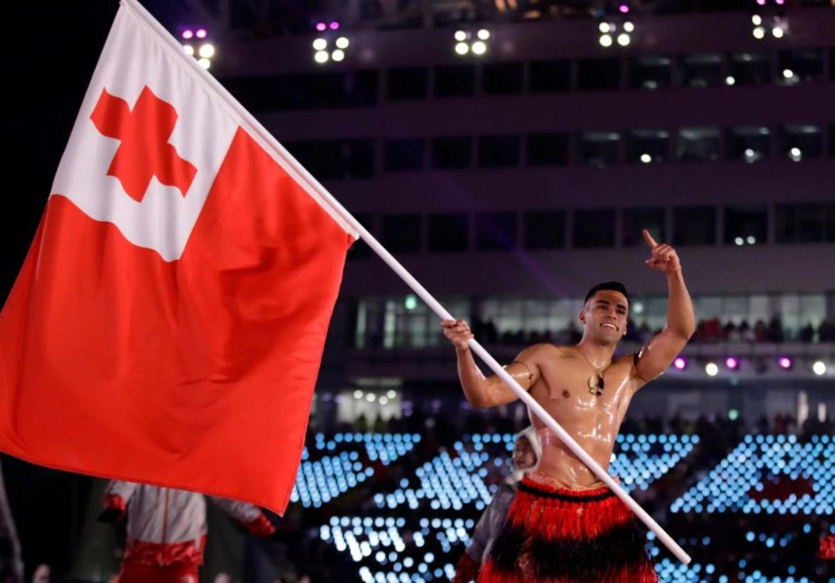 The well-oiled Tongan from Rio is in PyeongChang and still well-oiled