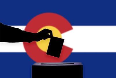 Colorado flag with ballot box