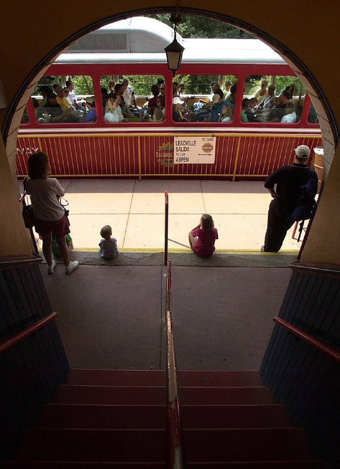 A train departs from the Cog Railway Station in Manitou Springs station Wednesday, July 3, 2002...by Kevin Kreck