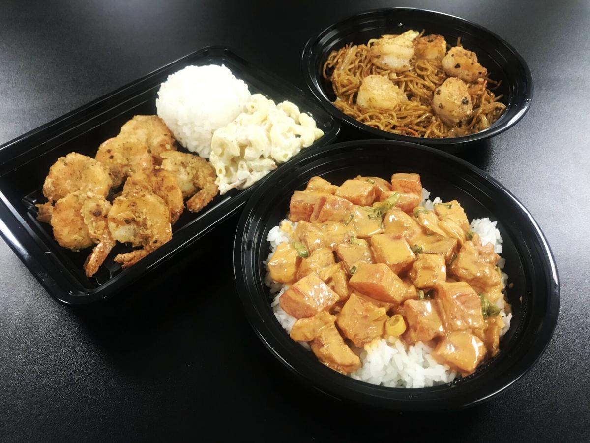 HO poke bowl garlic shimp plate yakisoba bowl with kahuku garlic shimp.jpg